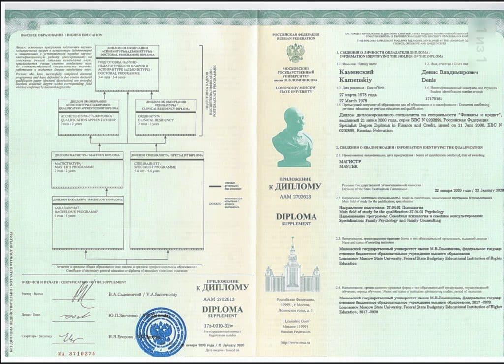 Приложение к диплому врача психолога (1)
