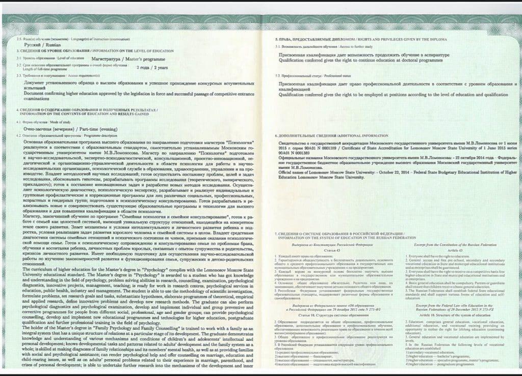 Приложение к диплому врача психолога (2)